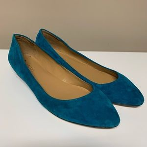 Talbots Teal Blue Green Suede Leather Ballet Flats